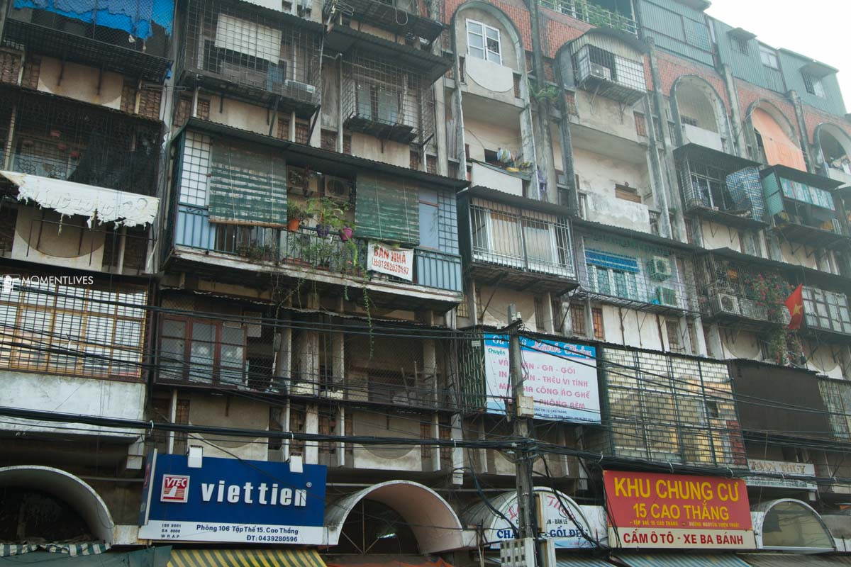 Houses in an old condominium in Hanoi