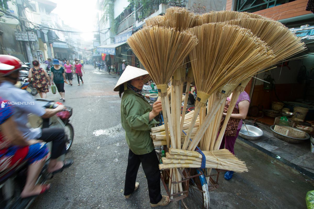 The sweep seller in the Old Quarter of Hanoi